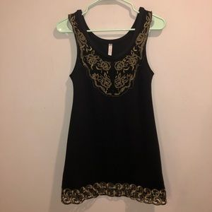 Free People mini dress black and gold size 2